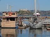 Alcatraz through the Boats