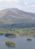 Derwent water islands from Cat Bells ascent; Blencathra behind