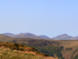 Scafell group and Great Gable on the horizon, Pavey Ark and High Raise slightly in front - from White Side