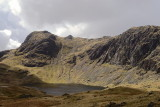 Harrison Stickle and Pavey Ark with Jack's rake visible above Stickle Tarn