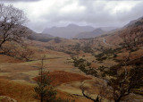 northwards from Castle How, Side Pike of Lingmoor tarn centre, then Langdales about to disappear in cloud