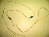 Lead 6 Gold Cord with Blue beads