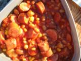 Billys överlevnadsgryta, majs, stark korv,vita bönor, krosade tomater