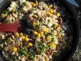 Köttfärs,majs,persilja och ris