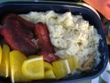 Korv och ris med gul paprika