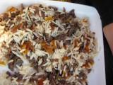 Peggys frystorkade köttfärs med ris och lök mm.