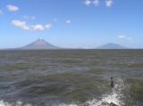out in Lago Nicaragua, the hazy image of Isla De Ometepe