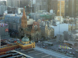 looking down at Flinders Station