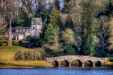 Bridge, cross, and church, Stourhead, Wiltshire
