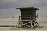 Lifeguard shack on a grey day