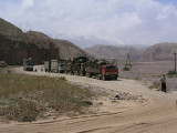 At the Chinese border with Kyrgyzstan, incredibly overloaded trucks
