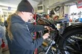 Vintage Bike Mechanic Jay Working On 250cc  Harley
