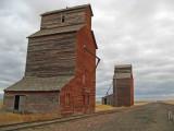Lonesome Grain Silos Of Hobson Montana.