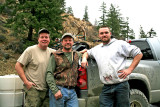 Three Hunters At Ardenvoir Store With Their Bucks