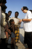 Meeting villagers alongside the Ganges