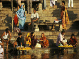 Pilgrims on the steps of a Ghat, Varanasi