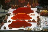 Holi powder at a Hindu temple near the sacred Ganges, Allahabad