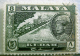 The railway depicted on a stamp, many years ago