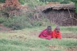 Maasai children watching the visitors
