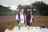 Champagne after a successful flight, with the pilot of the other balloon