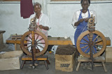 The raw wool is then washed, combed, died and then spun into yarn