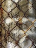 fence, poll, rust, light
