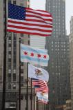 Flags on The Michigan Avenue Bridge