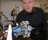 Assembled engine with builder, Ron Harris