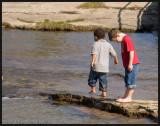 Boys exploring the stream