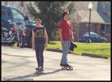 Skateboard through the park