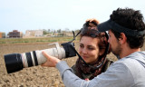 Cristian and his girlfriend taking photos in the Ebro Delta