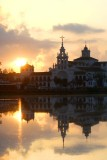 The church in el Rocio at Sunrise with the marsh