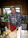 Ginny's Dad With Sliced Elk - Soon To Be Jerky