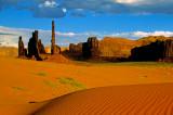 Totem Pole and dunes, Monument Valley, Navajo Tribal Park, AZ/UT