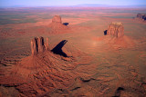 (AR18) Aerial view of West Mitten, East Mitten, and Merrick buttes, Monument Valley, AZ