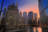 Sunset by Chicago River
