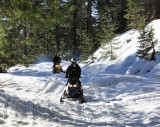 Snowmobilers on Browns Ravine Road, which connects Skyway to West Branch Feather River