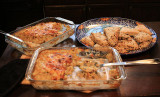 Donna- and Alan-prepared breakfast: Two types of potato-based casseroles, two kinds of scones