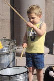 Zach, a 3-year-old drummer, joins the band