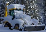 JCB in deep snow