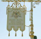 White hotel sign