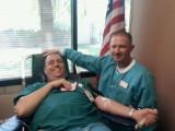Jeff Knapp and phlebotomist Jon N.