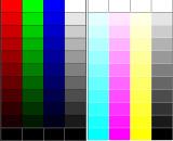 RGB, CMYK and gray steps