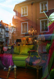 reflections in store window