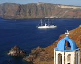 View of 4-Masted Sailing Ship Leaving Oia Port