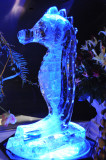 The Finished Ice Carving in Blue Light!