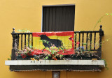 Bull banner displayed in balcony