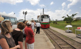 Start of narrow-gauged railroad tour around island