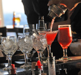 A drink being poured at the 96th.-floor bar of the John Hancock Center