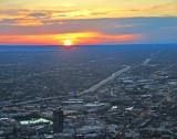 Sunset across city of Chicago